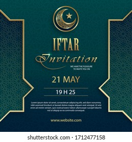 Iftar invitation card for Ramadan Kareem on islamic background with crescent moon and gold pattern on paper color backgroung for event and party