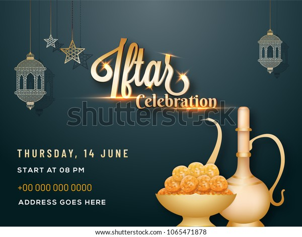 Iftar Party Celebration Invitation Card Poster Stock Image
