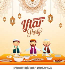 Iftar party invitation card desig with hanging lanterns, mandala floral pattersn, and muslim men enjoying iftar feast.