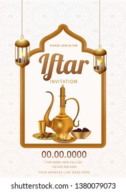 Iftar Party invitation card design with illustration of arabic jug, food and dates bowl on white arabic pattern background.