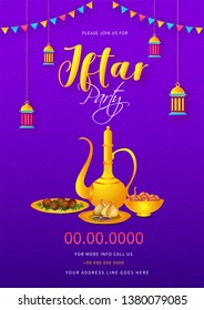 Iftar Party invitation card design with illustration of arabic jug, food and dates bowl on purple background with event details.