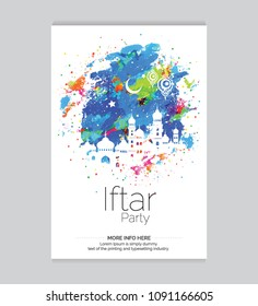 Iftar Party Invitation Card Template with Watercolor Background Vector Illustration