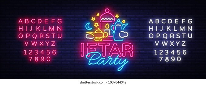Iftar Party invitation card vector illustration. Iftar Party Festive Illustration Design template in modern neon style, Muslim holiday of holy month Ramadan Karim. Neon sign. Editing text neon sign