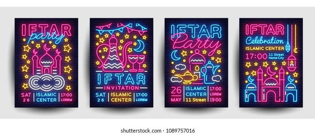 Iftar party invitation collection poster vector template design. Bright Islamic illustration card in modern trend neon style, Light banner, Celebration Islamic holiday Ramadan Kareem, Festive dinner