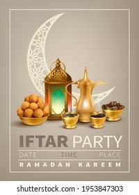 Iftar Party invitation. Ramadan Kareem background with traditional coffee pot (dallah), gulab jamun, ancient lantern (fanoos) and dried dates. Text translation: Generous Ramadan. Vector.
