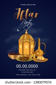 Iftar Party template or invitation card design with illuminated lantern, food, dates and arabic jug illustration on blue background.