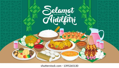 Iftar/Berbuka Puasa (or Fatoor) is the evening meal with which Muslims end their daily Ramadan fast at sunset.  (Caption: Hari Raya Aidilfitri also known as Eid al-Fitr)