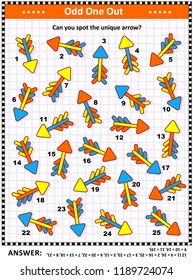 IG training visual puzzle with colorful arrows (suitable both for kids and adults): Spot the odd one out. Find the unique arrow. Answer included.