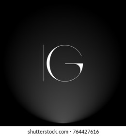 IG White thin minimalist LOGO Design with Highlight on Black Background.