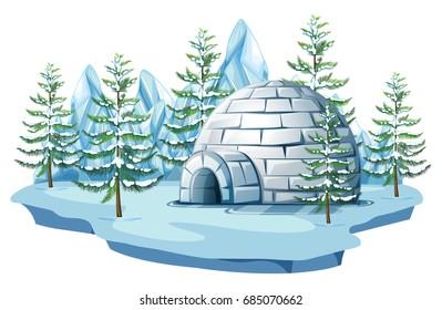 Igloo at the arctic land illustration