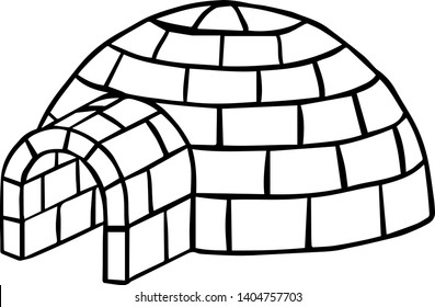 Igloo building. Black and white vector sketched illustration