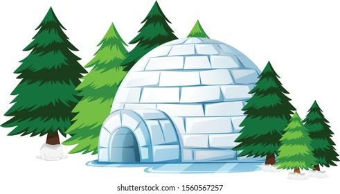 igloo cartoon vector art and illustration