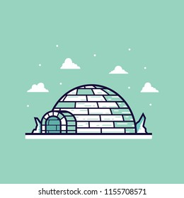 Igloo cartoon vector illustration with flat and clean design style.