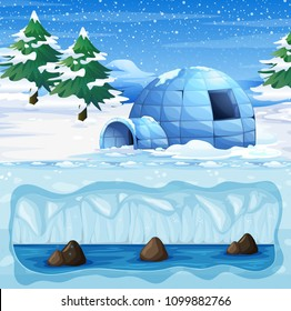 Igloo in the Cold North Pole illustration