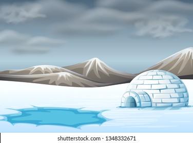 igloo in cold terrain illustration