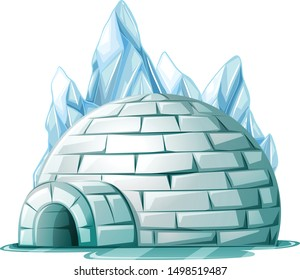igloo with ice cartoon vector art and illustration