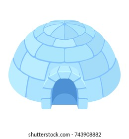 Igloo ice house. Snow home, Eskimo dome-shaped hut winter shelter, made of blocks. Vector flat style cartoon illustration isolated on white background