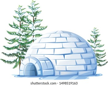 igloo with ice tree cartoon vector art and illustration
