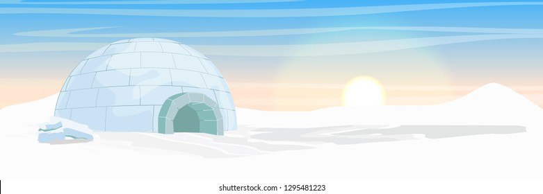 Igloo. Icehouse. Ice dwelling of the Eskimos. Snow covered plain. Arctic and Antarctic. Realistic vector landscape.
