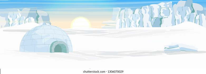 Igloo. Icehouse. Ice dwelling of the Eskimos. Snow covered plain. Glacier. Arctic and Antarctic. Realistic vector landscape.
