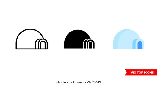 Igloo icon of 3 types: color, black and white, outline. Isolated vector sign symbol.