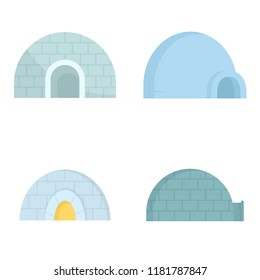 Igloo icon set. Flat set of igloo vector icons for web design