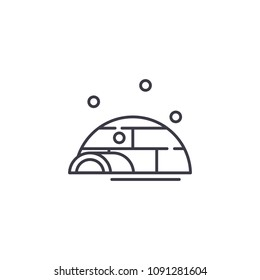 Igloo linear icon concept. Igloo line vector sign, symbol, illustration.