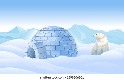 Igloo in the north. Housing in the north. Bear near the igloo. Northern arctic landscape. Life in the north in the ice. The polar bear lives in the cold. Vector illustration