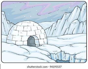Igloo, North Pole - Landscape - Cartoon Illustration Background