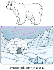 Igloo, North Pole - Landscape with Polar Bear - Cartoon Illustrations - Clip art