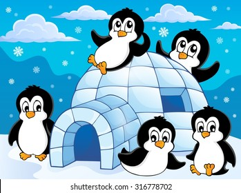 Igloo and penguins