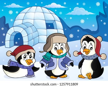 Igloo with penguins theme 4 - eps10 vector illustration.