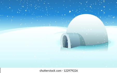 Igloo And Polar Icy Background/ Illustration of a cartoon igloo house inside white icy north pole winter landscape