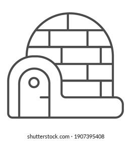 Igloo thin line icon, Winter season concept, house made of snow and ice sign on white background, icy igloo icon in outline style for mobile concept and web design. Vector graphics.