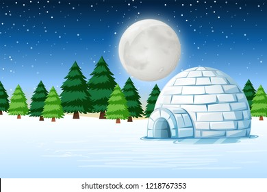Igloo in winter night landscape illustration