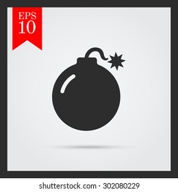 Ignited bomb. Vector icon for presentation, training, marketing, design, web. Can be used for creative template, logo, sign, craft. Isolated on white background. Vector black silhouette.