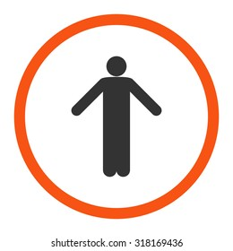 Ignorance vector icon. This rounded flat symbol is drawn with orange and gray colors on a white background.