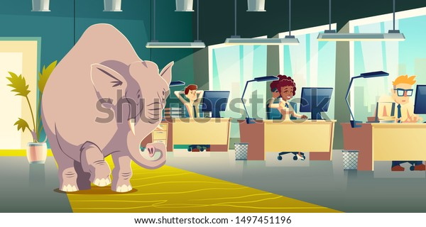Ignoring elephant in room cartoon vector concept. Businesspeople, company employees, coworkers working at desks, overlooking, dont want discuss elephant in office illustration. Metaphorical idiom