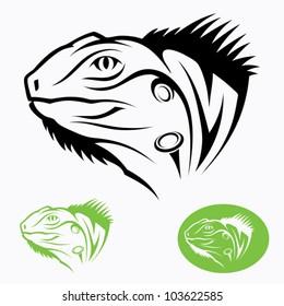 Iguana head - vector illustration