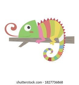 Iguana vector illustration cartoon isolated on white background. Lizard iguana laying on twig and sticking out tongue vector cartoon.