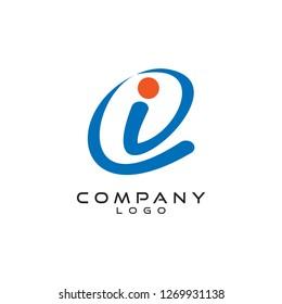 i/ie/ei/ci/ic tech logo design vector