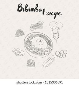 IIllustration for recipe bibimbap. Bibimbap korean traditional dish with fried egg. Asian cuisine. Set of bibimbap products. Hand drawn vector outline illustration.