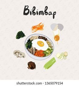 IIllustration for recipe bibimbap. Bibimbap korean traditional dish with fried egg. Asian cuisine. Set of ingredients for cooking bibimbap. Hand drawn vector colorful illustration.