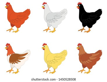 Iillustration of six different color chickens on a white background