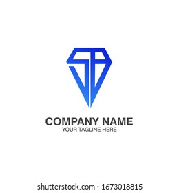 Iinitials SB/Saphire Blue Logo Template, fits perfectly for jewelry stores. because it forms a jewel