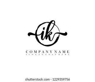 IK initial handwriting logo circle template vector