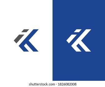 ik ki letter logo design vector