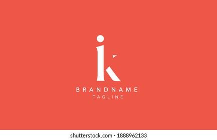 IK Lowercase Letter Initial Icon Logo Design Vector Illustration