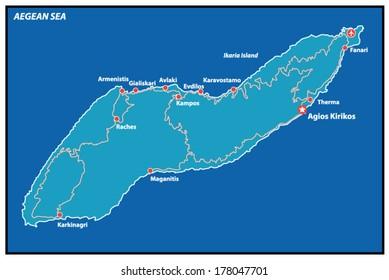 Ikaria Island Vector Map Greece.