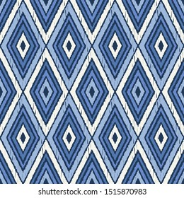 Ikat. Art seamless pattern. Ethnic print. Multicolored. Boho. Folk motif. Vector geometric background. Can be used for social media, posters, email, print, ads designs.